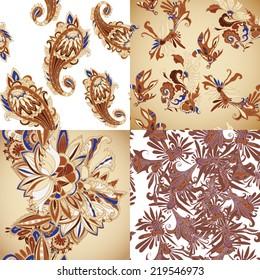 Seamless batik pattern set