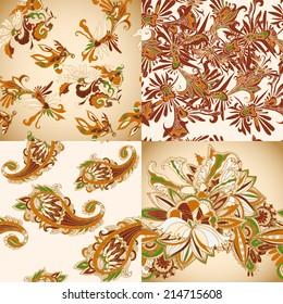 Seamless batik vintage pattern set