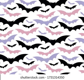 Seamless bats pattern in different colors