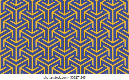 Seamless bauhaus blue and yellow trilateral arrows isometric pattern vector