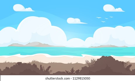 Seamless beach landscape. Beautiful high quality unending background. Layered for parallax effect. For 2d game. Simple cartoon design. With ocean, clouds, bushes, sea. Flat style vector illustration.