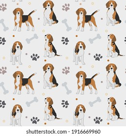 Seamless beagle pattern. Cartoon home pet, set of cute puppies for print, posters and postcard. Vector beagle animal background. Funny little doggy seamless pattern