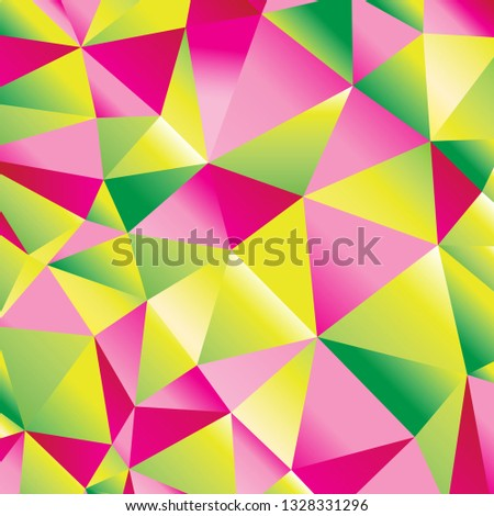 Seamless beautiful abstract geometric pattern of bright triangles and polygons