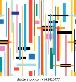 Seamless beautiful color geometric pattern from strips on white