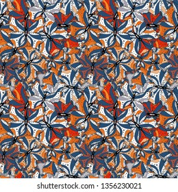 Seamless Beautiful fabric pattern. Vector. Doodles blue, black and white on colors.