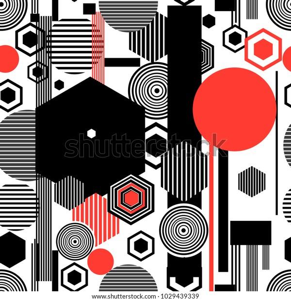 Seamless beautiful geometric pattern of different shapes