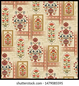 Seamless beautiful mughal  flower  motif   with pattern  design cream background