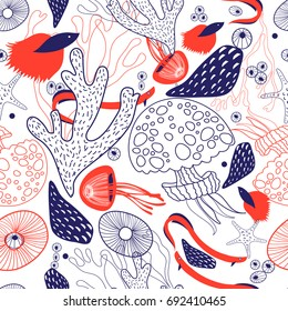 Seamless beautiful sea pattern from coral and jellyfish on a white background