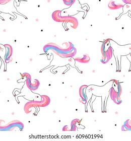 Seamless beautiful unicorns pattern. Vector magical background for kids design.