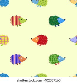 Seamless beautiful wallpaper of cheerful colored hedgehogs
