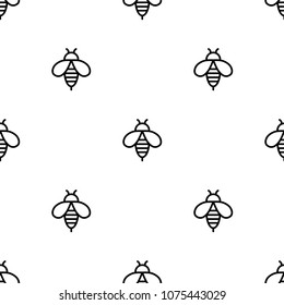 Seamless bee black icons pattern on white background