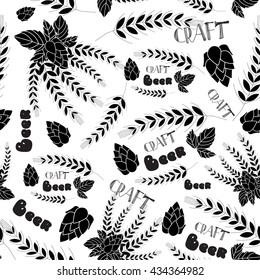 seamless beer pattern. malt, barley, lettering elements. crafted beer. vector illustration