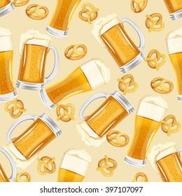 Seamless beer pattern. Oktoberfest background. Saint Patrick design.
