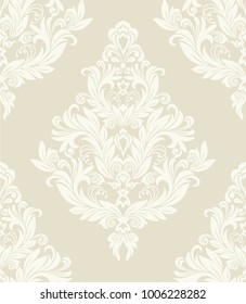 Seamless beige background with light pattern in baroque style. Vector retro illustration. Ideal for printing on fabric or paper.