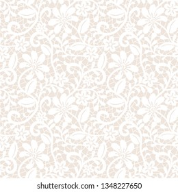 Seamless beige lace background with floral pattern
