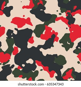 Seamless beige red green and black large camouflage pattern vector