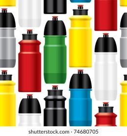 Seamless bicycle water bottles pattern