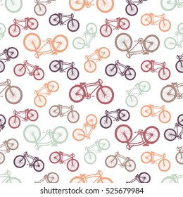 Seamless bicycles pattern. Color icons on white background