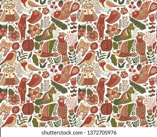 Seamless birds background. Textile composition, hand drawn style pattern. Vector illustration.