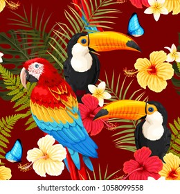 Seamless birds and flowers