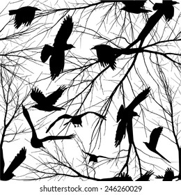 Seamless birds and tree branches. Vector