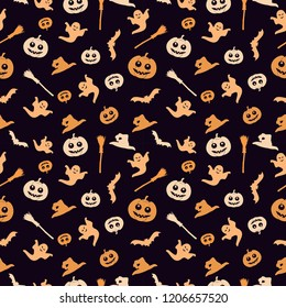 Seamless black background with a Halloween theme. The background shows a pumpkin, a broom, a witch's cap, a ghost and a bat.