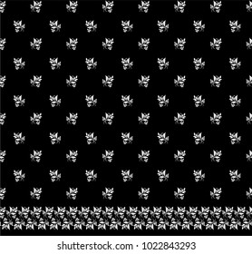 Seamless black background with white pattern in baroque style. Vector retro illustration. Ideal for printing on fabric or paper for textile, wrapping.