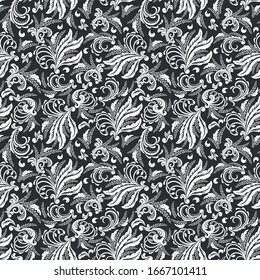 Seamless black background with white pattern in baroque style. Vector retro illustration. Ideal for printing on fabric or paper for wallpapers, textile, wrapping.
