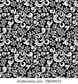 Seamless black background with white pattern in baroque style. Vector retro illustration. Ideal for printing on fabric or paper.