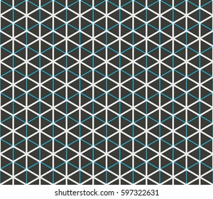 Seamless black blue and white overlaying isometric hexagonal grids pattern vector