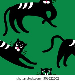 Seamless black cats. Vintage vector background