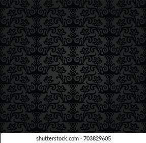 Seamless black charcoal floral wallpaper pattern. This image is a vector illustration.