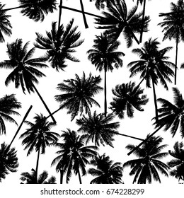 seamless black coconut trees pattern for fashion textile, plant vector illustration