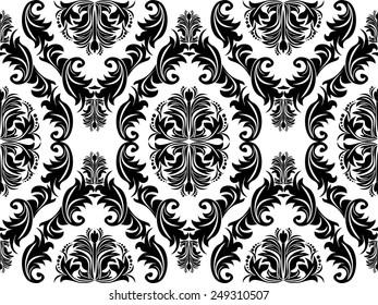 Seamless black damask Ornament on white for design