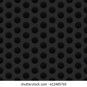 Seamless black detailed perforated metal sheet background texture vector