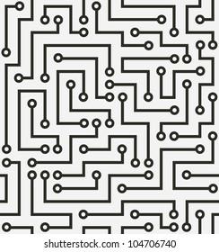 Seamless black electronic pattern. Vector illustration