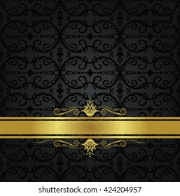 Seamless black floral wallpaper pattern and gold ribbon with decorative swirls. This image is a vector illustration.