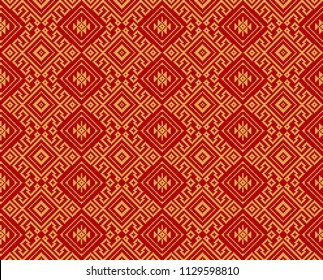 Seamless black geometric pattern. Thai, South East Asian ethnic style and colors. Embroidery style.