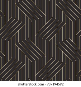 Seamless black and gold op art geo abstract isometric vintage stripes pattern vector