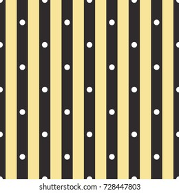 Seamless black gold and white polka dot with stripes pattern vector