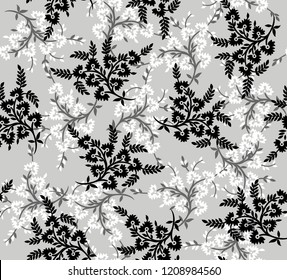 seamless black and grey small flowers pattern on grey background