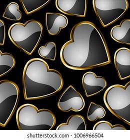 Seamless black hearts pattern.