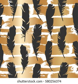 Seamless black illustration with feathers on a gold brush background. Natural vector pattern. Boho style. Simple silhouettes.