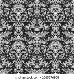 Seamless black lace background with white floral pattern