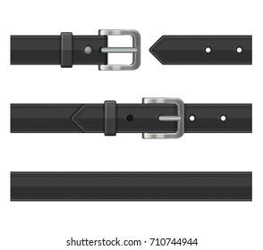 Seamless Black Leather Belts Set. Vector
