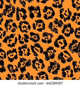 Seamless black orange vector jaguar pattern.