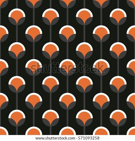 Seamless Black Orange Vintage Floral Wallpaper Stock Vector Royalty