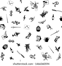 Seamless black pattern on white background. Items school of magic and sorcery. Vector illustration
