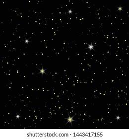 Seamless black vector background, pattern, night starry sky, stardust