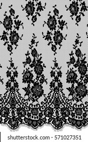 Seamless Black Vector Lace Pattern